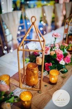 Gold Centerpieces #glitter #goldwedding #rustic #rusticwedding #floral