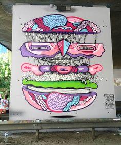 Ce dimanche a eu lieu The Bridge, un festival de street art pour lequel 40 artistes ont investi les murs d'un pont de l'autoroute A186, à Montreuil.Dans le c