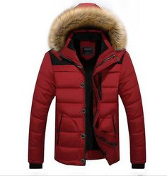 3106158251da Mens Long Padded Cotton Trench Hooded Coat Fur Outwear Jackets Overcoat Red  US-S