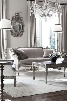 Traditional decor classically appointed grey living room..be careful... this looks like an old b&w pic from the 40s...use this for inspiration... but to dowdy for today's decor