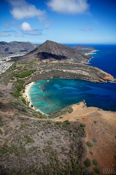 Aerial view of Hanauma Bay and Koko Head Crater from an Oahu helicopter tour, Hawaii