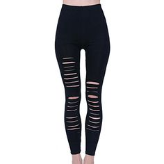 Zeagoo Sexy Ripped Stretch Torn Slashed Leggings Low Rise Render Pants Thights >>> Want to know more, click on the image.