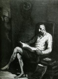 Дон Кихот читает - Домье Оноре - WikiArt.org - энциклопедия визуального искусства
