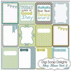 Sky Blue Set 2: 12 Journal Cards 3x4 Project Life Style Blue Green Pocket Cards, Printable Digital Scrapbooking, Instant Download