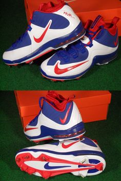 gym shoes red white and blue baseball