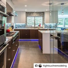Here's a #kitchen that could brighten any #Monday morning! Cool idea to add lights under the cabinets via @hightouchremodeling