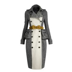 Burberry Cotton Tweed Trench Coat ($2,995) ❤ liked on Polyvore featuring outerwear, coats, jackets, coats & jackets, burberry, trench coats, women, burberry coat, tweed trench coat and burberry trenchcoat