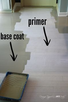 Do you have badly damaged wood floors that you can afford to refinish This is a great option! Love the look of these stenciled floors! Check out the full tutorial by Designer Trapped in a Lawyers Body. Stencil Wood, Stencil Diy, Stencil Painting, Tile Stencils, Stencil Patterns, Porch Flooring, Diy Flooring, Kitchen Flooring, Laminate Flooring