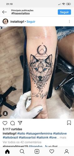 Image about blue in Tattoos 🔱✴⭐⁉ by Renata on We Heart It Mini Tattoos, Body Art Tattoos, Small Tattoos, Tatoos, Wolf Tattoos For Women, Tattoos For Guys, Wolf Tattoo Sleeve, Sleeve Tattoos, Tattoo Wolf