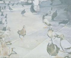 Pigeons. Het creëren van zachte, subtiel vervloeiende (verschil in licht en schaduw) vergrijsde tinten .Sfumato komt van  italiaans, verl. deelw. van sfumare [verdampen], van latijn ex [uit] + fumare [roken, dampen] is een schildertechniek waarbij de omtrekken van onderwerpen in het schilderij wazig worden gemaakt, zodat de vormen wat vaag worden en de contouren onscherp. Het effect wordt bereikt door over het onderwerp verschillende transparante kleurlagen aan te brengen,