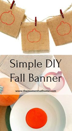 Make this pretty fall banner in minutes! Easy Halloween or Thanksgiving decoration. Thanksgiving Crafts For Kids, Thanksgiving Decorations, Thanksgiving Table, Diy Projects For Fall, Fall Banner, Harvest Decorations, Pumpkin Crafts, Autumn Activities, Fall Diy