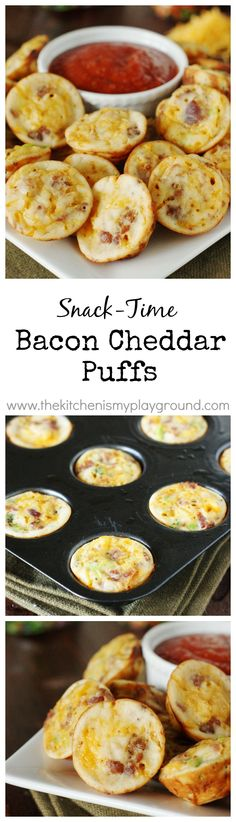 Bacon Cheddar Puffs ~ Perfect for easy snacking! Snack time. Game time. Party time. Or even breakfast! Freeze to have on hand for anytime. www.thekitchenismyplayground.com