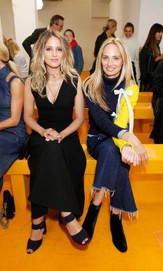 Glee's Dianna Agron, left, and Moda Operandi co-founder Lauren Santo Domingo sat front row at Emilia Wickstead.