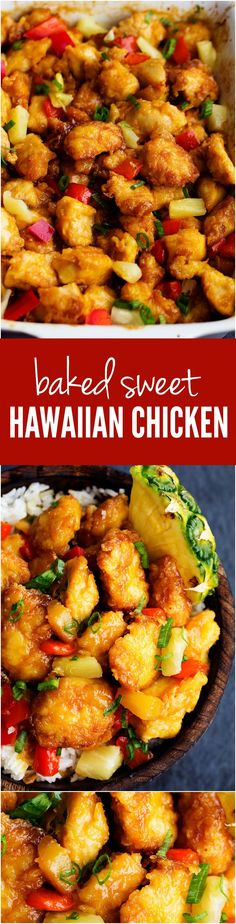 This Baked Hawaiian Chicken is sweet and tangy and better than any takeout you will ever get!! Baked Hawaiian Chicken Recipe, Pineapple Dinner Recipes, Baked Pineapple Chicken, Hawaiian Food Recipes, Hawaiian Drinks, Baked Dinner Recipes, Hawaiian Dishes, Asian Recipes, Healthy Recipes