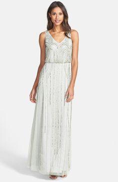 DRESS#3- $318 MIST- Adrianna Papell Beaded Mesh Blouson Gown   Nordstrom