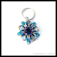 #Chainmaille #Keychain Blue Flower by DragonweaveJewelry on Etsy