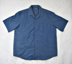 Joseph Abboud Jeans Inc Blue Mens Short Sleeve Casual Shirt Textured Size XL #JosephAbboud #ButtonFront
