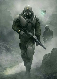 Sci-fi future soldier in battle armor - Artist: Geoffroy Thoorens aka djahal…