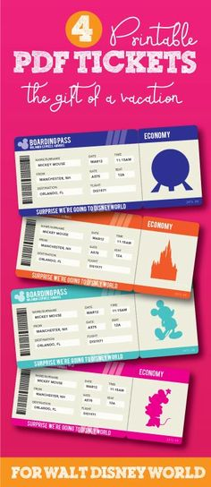 Printable Ticket To Disneyworld Disneyland By