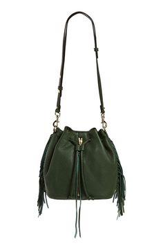 Rebecca Minkoff 'Mini Fringe Moto' Bucket Bag, dark forest (green) $295 | Nordstrom