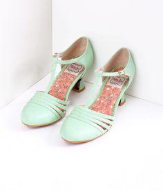 3944170821901 Bettie Page Mint Leatherette Lucy T-Strap Heels