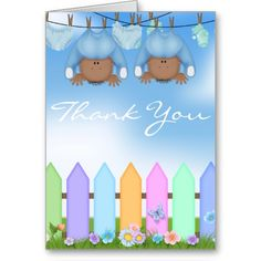 AFRICAN AMERICAN BABY  TWIN BOYS THANK YOU CARD