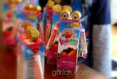 Easy to make juice box robots are great for a class treat or a birthday party!