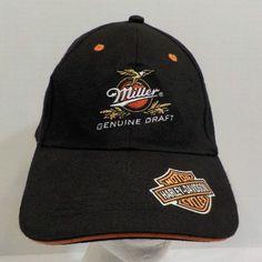 Miller Genuine Draft Beer Harley Davidson Promo Baseball Hat Cap Flex Fit #MillerBeer #BaseballCap
