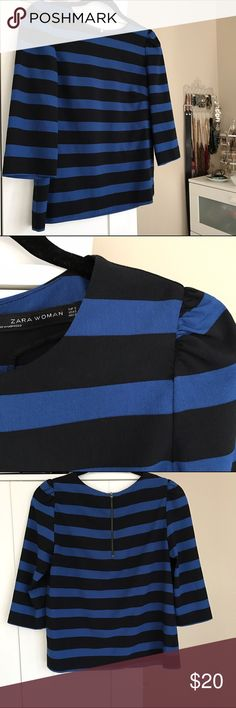 zara woman 3/4 sleeve silky striped blouse / top super chic striped top by zara woman tagged size S & true to size slightly boxy/loose fit in bodice feminine gathered shoulders  3/4 length sleeves blue & black wide stripes worn once, freshly laundered, in EUC Zara Tops Tees - Long Sleeve
