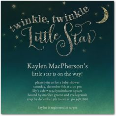 Twinkle Bright - Baby Shower Invitations in Baltic | Sarah Hawkins Designs