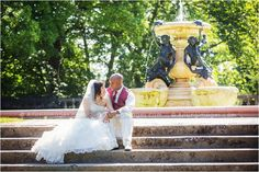 Beautiful bride and groom photo by a fountain. #cranbrook #wedding #photography #gardens