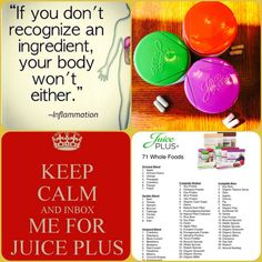 """Our bodies are designed to recognize & knows exactly what to do with real plant based whole food nutrition! Juice Plus is REAL concentrated whole food from fruits, veggies, berries! There's no """"supplement"""" that compares to eating healthier and adding more fruits, veggies, berries, grains, plant based protein is good for reducing inflammation! #jplife www.twood.juiceplus.com"""