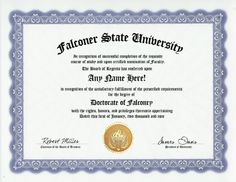 Falconer Falconry Falcons Degree: Custom Gag Diploma Doctorate Certificate (Funny Customized Joke Gift - Novelty Item) by GD Novelty Items. $13.99. One customized novelty certificate (8.5 x 11 inch) printed on premium certificate paper with official border. Includes embossed Gold Seal on certificate. Custom produced with your own personalized information: Any name and any date you choose.