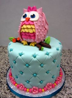 Owl cake and cupcakes Pretty Cakes, Cute Cakes, Beautiful Cakes, Amazing Cakes, Owl Cake Birthday, First Birthday Cakes, 2nd Birthday, Birthday Ideas, Fondant Cakes