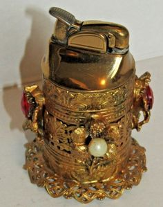 Vintage Evans Table Lighter Beautiful Gold Tone With Gemstones