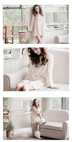 Women Sweet Style Pleated Bishop Sleeve Lace Panel Loose Shift Dress - Item 696476 at Eastclothes.com
