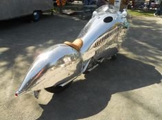 ~~ The Road to Glamperland ~~  You remember the 'Deco Liner' that was built by Randy Grubb . . . Now check out the motorcycle, scooter and helmet built by this guy using a Piaggio scooter, Harley Sportster and his great imagination . . . this is sooooo coooool !