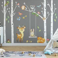 Wall Stickers Woodland, Nursery Wall Stickers, Nursery Murals, Baby Room Decals, Wall Murals, Fox Nursery, Woodland Nursery Decor, Nursery Neutral, Nursery Room
