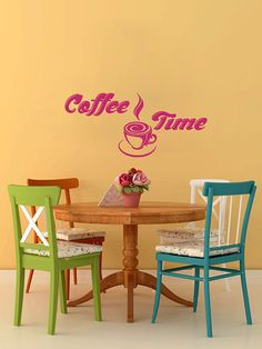Vinyl Decalc  Coffee Time Cup Beans Quote Home Wall  by BestDecals, $26.99