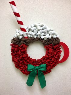 Cute Winter Wreath Decoration Ideas To Compliment Your Door - When most of us think of front door wreaths we think circle, evergreen and Christmas. Wreaths come in all types of materials and shapes. Diy Christmas Decorations, Christmas Wreaths For Front Door, Holiday Wreaths, Holiday Crafts, Winter Wreaths, Make Your Own Wreath Christmas, Holiday Decor, Noel Christmas, Rustic Christmas