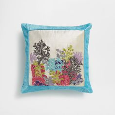 Image of the product Embroidered velvet cushion cover with rhinestones