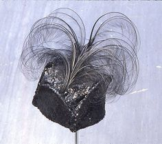 Circa 1914 American sequins and feathers Tricorne hat, via MMA.