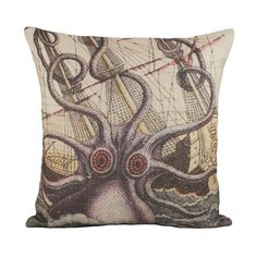Octopus Pillow Cover Nautical Cushion Sea Beach by TheWatsonShop, $46.00