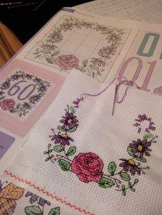 working on, cross stitch, flower, rose, birthday, card