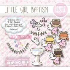 Baptism Clip art Pink Purple Little Angels Latin Afroamerican Blonde Chevron Hearts Baptism Chocolate Caramelo by Lagartixa
