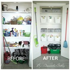 Before and after broom closet. White bins were from Dollarama and the printed boxes were from local dollar store.