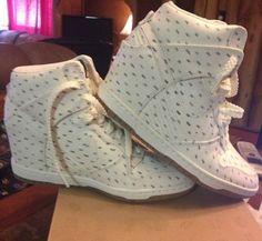 NWB Nike White Print Dunk Sky Hi Hidden Wedge Sneaker Shoes Women