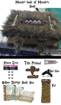 Harry Potter Monster Book of monsters I have to make this! Harry Potter Monster Book of monsters I have to make this! Baby Harry Potter, Harry Potter Monster Book, Magie Harry Potter, Objet Harry Potter, Harry Potter Fiesta, Harry Potter Thema, Cumpleaños Harry Potter, Harry Potter Bedroom, Monster Book Of Monsters