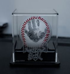 Baptism gift for godfather.  Handprint baseball.  Would also make a nice Father's day gift