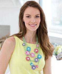 Mod Flower Necklace Free Crochet Jewelry Pattern from Aunt Lydia's Crochet Thread